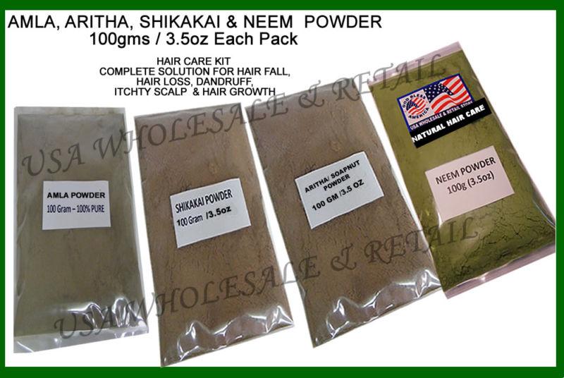 Amla Shikakai Aritha Neem Powder Herbal Hair Care Kit