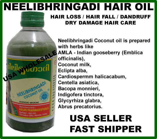 Neelibhringadi oil for Hair Loss made from Amla Coconut Bhringraj Indigo
