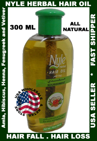 Nyle Herbal Hair Oil made from Amla Henna Hibiscus Fennugreek and Vetiver