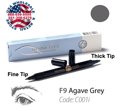 HenneEyes Henna EyeLiner and Brow Liner Pen Agave Grey Color